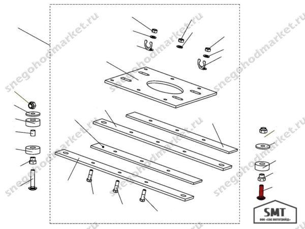 Болт 110100189-01 (короткий) схема Буран