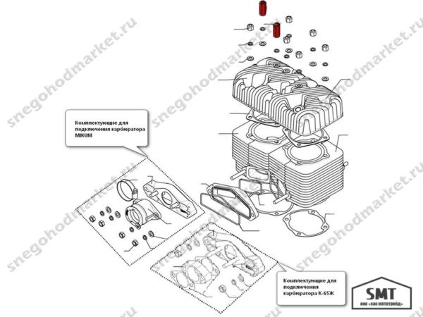 Гайка крепления головки цилиндра 110500042 схема Буран