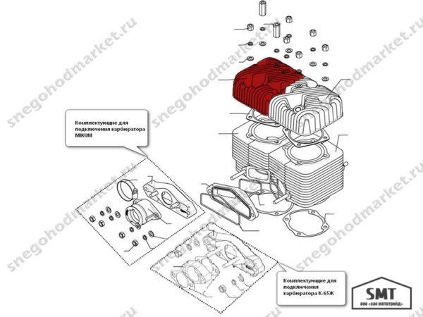 Головка цилиндра левая 160500008 Русская Механика схема Буран