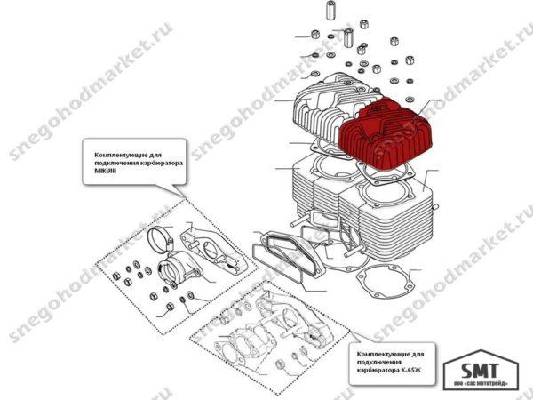 Головка цилиндра правая 160500007 Русская Механика схема Буран