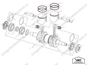 Кольцо поршневое Тайга 550 (комплект) схема