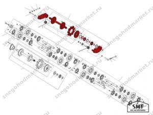 Вал направляющий со звездочками 110200020 схема Буран