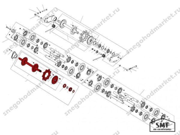 Вал ведущий со звездочками 110200030 схема Буран