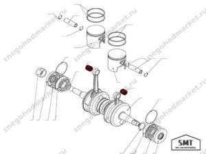 Подшипник игольчатый поршневого пальца 18x22x22 схема Буран