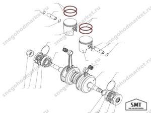 Кольцо поршневое (прямое) RMKO схема Буран