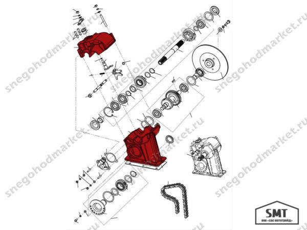 Корпус коробки реверса 110602258 схема Буран