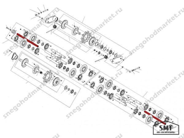 Ось балансира катков 110200137 схема Буран