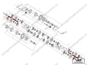 Ось балансира катков н/о 110200137 схема Буран