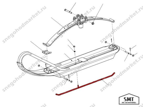 Полоз лыжи 110300370 схема Буран