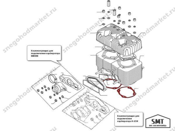 Прокладка 110501192 (4-х канального цилиндра) схема Буран
