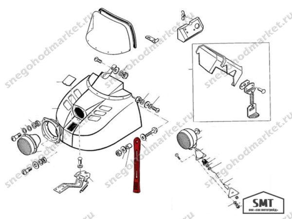 Ремень крепления капота С40700105 схема Буран