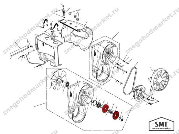 Шкив вентилятора ведомый 110500576 схема Буран